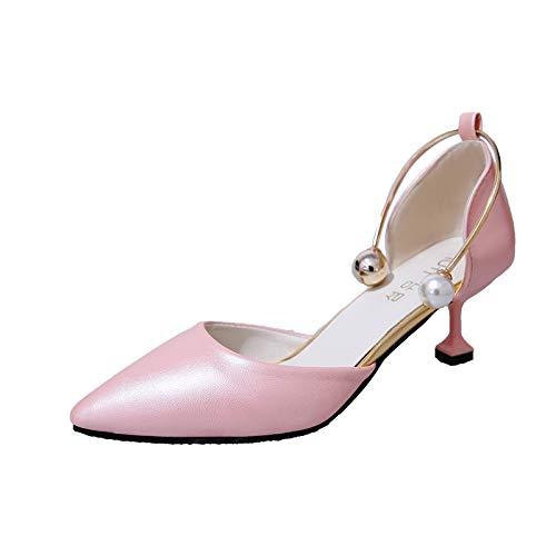 HOESCZS Femmes Femmes HOESCZS Chaussures Printemps Nouveau Talons Aiguilles Fashion Pointu Chaussures Simples Chaussures Dames Chaussures Sauvages Mode 39|Pink 472f2f
