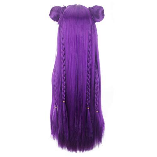 (Cosplay Wig,Purple Wig,Game New Skin L/OL K/DA Wig Women Anime Medium Rose Net Wigs)