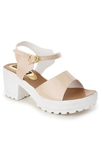 Trendy Fashion Women Beige Block Heels