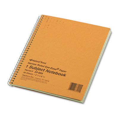 National Brand Products - National Brand - Subject Wirebound Notebook, Narrow Rule, 8-1/4 x 6-7/8, Green, 80 Sheets - Sold As 1 Each - Ideal for taking notes in class. - Durable board back cover. - Microperforated sheets for clean removal. - Three-hole punched. -