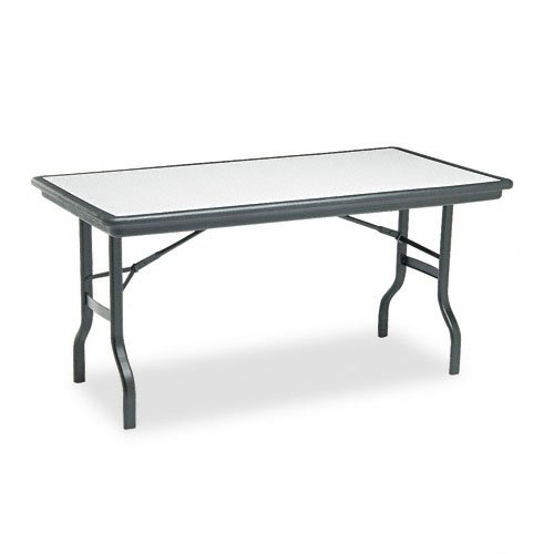 Folding Banquet Table Series (Iceberg ICE65117 IndestrucTable Folding Table with Black Legs and Top, Steel Reinforced Blow-Molded Plastic, 1500 lbs Load Capacity, 60
