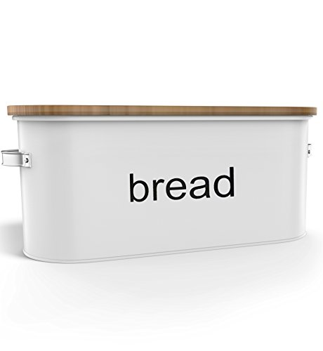Country Extra Large Bread Box + Bamboo Cutting Board (Extra Large) - Food Storage - Kitchen Container - Non Toxic - Eco (Painted Bread Box)