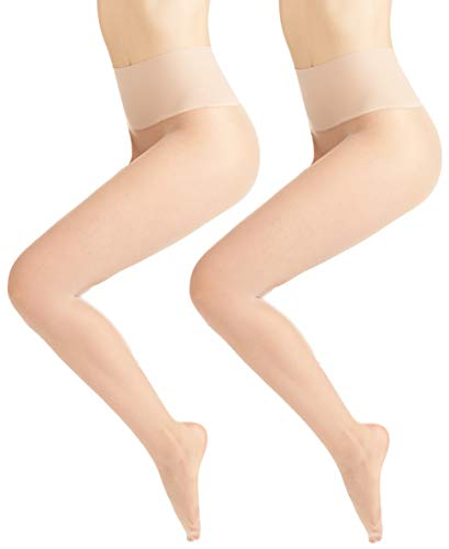 (Warners Women's No Digging Seamless Sheer Tights (2 Pack), Nude 1/Nude 1, Size Large)