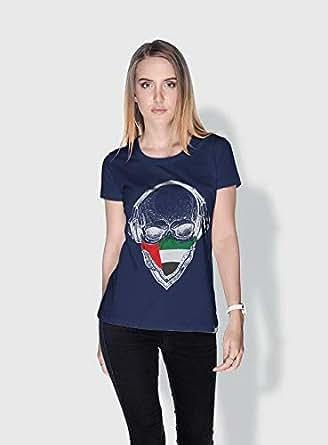 Creo Uae Skull T-Shirts For Women - M, Blue
