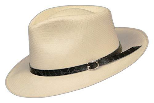 Embossed Patterned Leather Panama Hat Band (Black Alligator .5