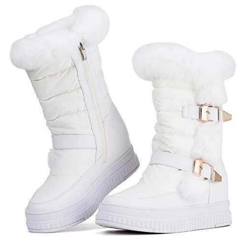 5d27c9e58fe Jivana Women s Winter Flat Mid-Calf Snow Boots Hidden Heel Wedge Bootie  (White-