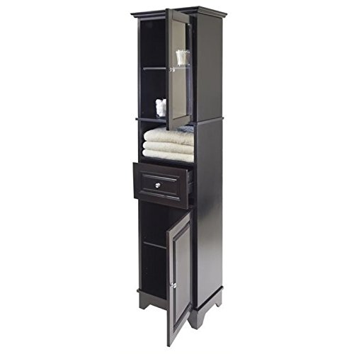 BOWERY HILL Tall Cabinet with Glass Door and Drawer in Black