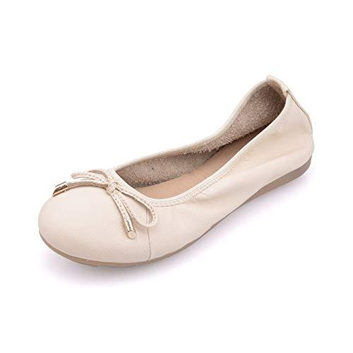 FLYRCX Moda Casual cómodos Zapatos Planos de Cuero de Fondo Suave Zapatos de Trabajo de Oficina de Damas Antideslizantes Zapatos de Maternidad Zapatos de Ballet A