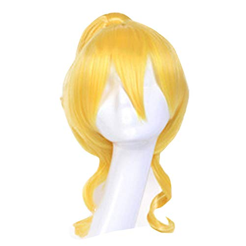Supersnailman Short Blonde Wig with Ponytail Halloween LoveLive Eli Ayase Cosplay Costume Wig Yellow