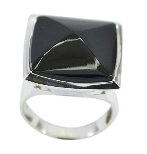 Supplies 925 Sterling Silver splendiferous Natural Black Ring, Black Onyx Black Gems Silver Ring -