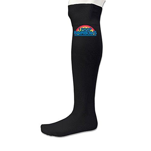 [EWIED Men's&Women's Rainbow I Poop Rainbows Soccer Game SocksBlack (1 Pair)] (Mens Dallas Cowboy Football Costumes)