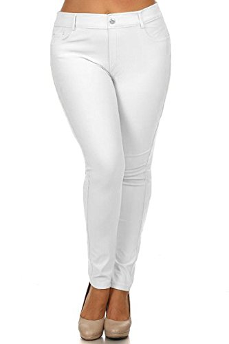 ICONOFLASH Women's Jeggings - Pull On Slimming Cotton Jean Like Leggings (White, 2XL) -