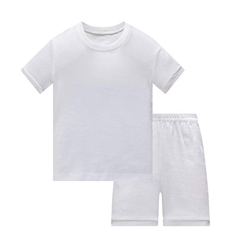 Huata Girls Boys Pajamas Sleepwears 2 Piece 100% Cotton (White, 7)