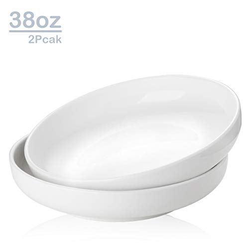 Zoneyila 38 Oz Porcelain Serving Bowls, 2 Packs Pasta, Salad, Soup, Fruit, Large Round Serving Bowl Sets, Wide and Anti Slip, White