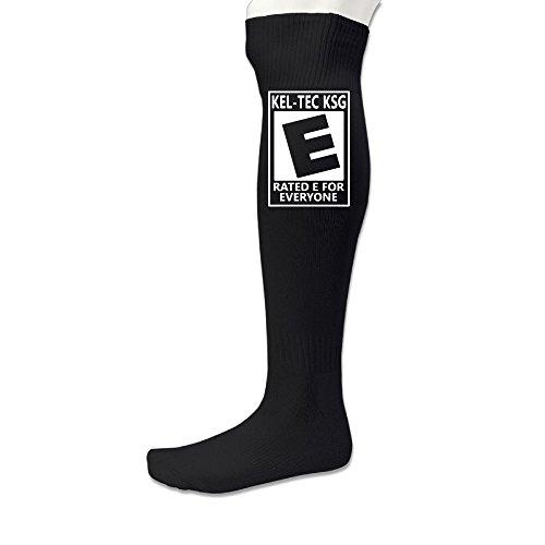 Hexu Men's My KelTec KSG Is Rated E For Everyone Cool Soccer Socks Sports Team Black