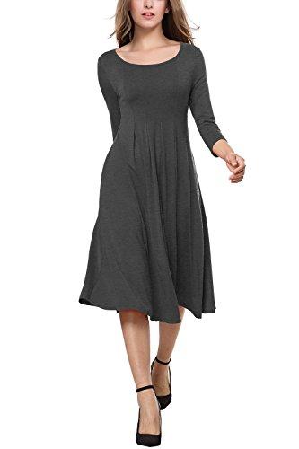 3/4 sleeve grey dress - 3