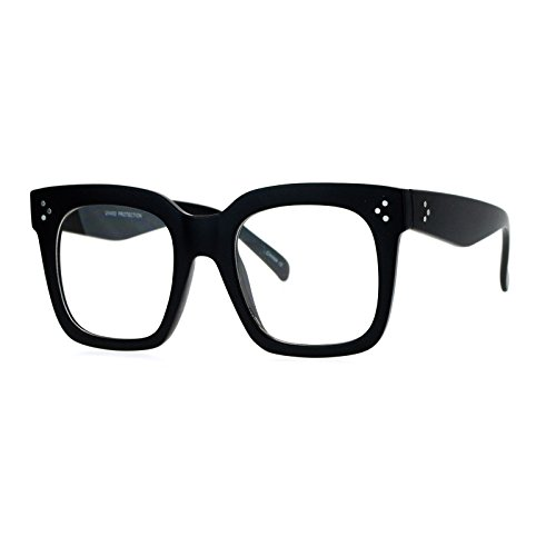Super Oversized Clear Lens Glasses Thick Square Fashion Eyeglasses Matte - Glasses Thick Black
