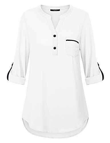 VALOLIA Blouses for Women for Juniors Tpos Contrast Color Block Solid Classic Basic Best Chiffon Shirt with Patch Pocket White XL