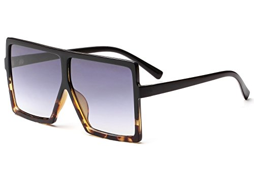 - GRFISIA Square Oversized Sunglasses for Women Men Flat Top Fashion Shades (black leopard/gradition gray, 2.56)