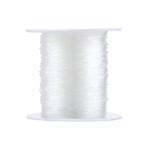 Pandahall 1Roll/100m 0.7mm Crystal Clear Thread Fiber Stretch Elastic Cord Jewelry Beading String Fishing Line
