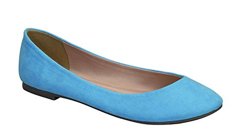 Breckelles Womens Pointed Toe Slip On Ballet Flats Blue Ts SRLnMOdUXB