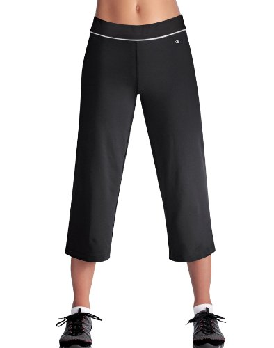 Champion Double Dry® 22'' Cotton-Rich SEMI-FITTED Women's Fitness Capris, XS-Black/White