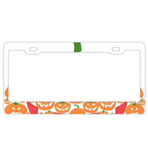 KSLIDS Cartoon Halloween Pumpkin License Plate Frame, High Gloss Stainless Steel Plate,12 L X 6 W inches, Multicolor -