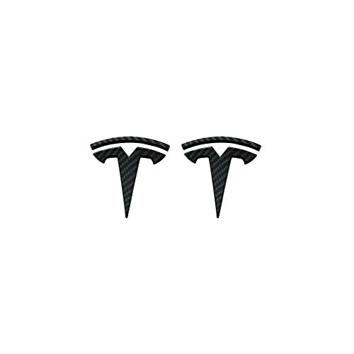 CoolKo Tesla Model S, X, 3 Personalized Modification for Front and Rear Car Logo - Bright Carbon Fiber Pattern [ 2 Pairs ] (Sill Door Emblems)