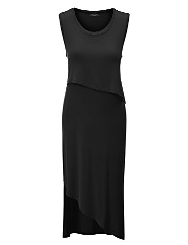 Made By Johnny MBJ Womens Sleeveless Double Layer Long Dress S Black ()