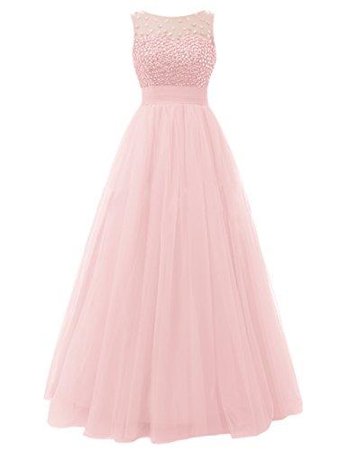 Dresstells®Vestido De Fiesta Largo De Tul Elegante De Noche Rosa