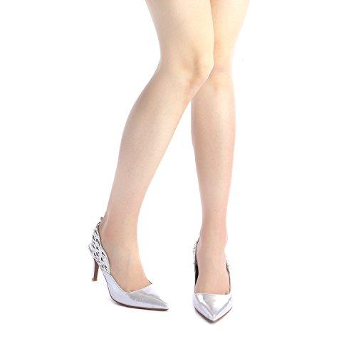 Heel PAIRS Fashion DREAM Shoes Toe Women's Stilettos Silver Pump Pointed WINGS aHIaRwq