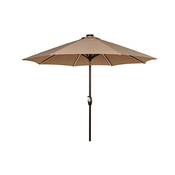 Ulax Furniture 9 Ft Solar Powered Led Lights Patio Umbrella Aluminum
