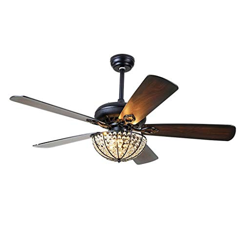 Indoor Ceiling Fans Lights Lamps Crystal Modern Ceiling Fans Led Light with 5 Wood Blades Living Room Bedroom Dinning Room Remote Control 3 Speed Ceiling Fans Lights Lamps (Size : 42 inches)
