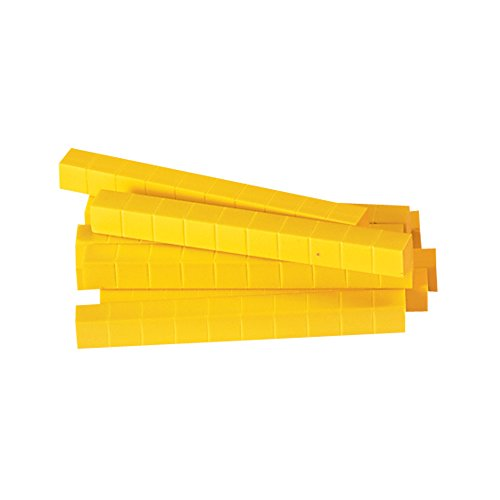 ETA hand2mind Yellow Plastic Base Ten Blocks, Rods (Pack of 50) (Plastic Set Rods)