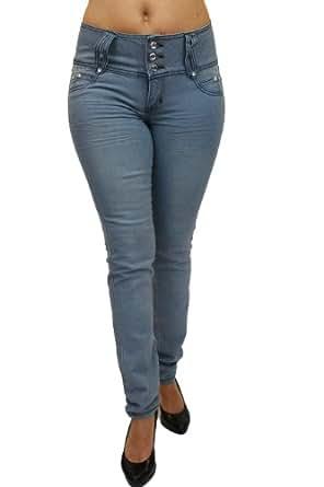 Brazilian Butt Lifting Sexy Colombian Style skinny Leg Fashion Stretch Denim Jeans By Diamante DJ1-C577 (0, Ligth Blue)