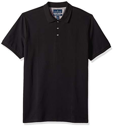 BUTTONED DOWN Men's Classic-Fit Supima Cotton Stretch Pique Polo Shirt, Black, X-Large