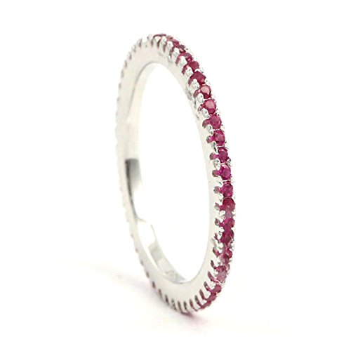 [Thin 1.5mm Stackable Full Eternity Wedding Engagement Band Ring Round Simulated Ruby 925 Sterling Silver] (Created Ruby Eternity Ring)