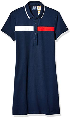 Tommy Hilfiger Women's Adaptive Polo Dress with Magnetic Buttons, Navy/Red/White, LG (Adaptive Dress)
