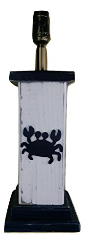 Rustic Nautical Wood Crab Column Lamp White and - Columns Rustic