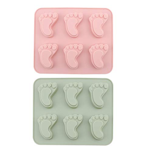 ov 2Pcs Baby Footprint Molds Foot Step Silicone Fondant molds for Baby Shower Birthday Cake Decoration Gumpaste Candy Soap Cupcake Topper Decorating ()