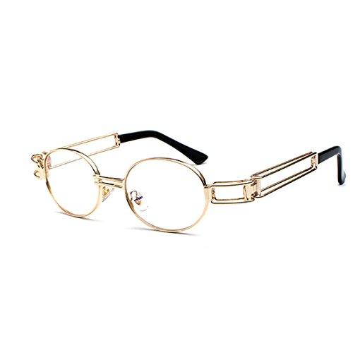 Gafas de los lente metal hombres de gafas de Marco Oro Lentes Gafas de de sol de transparente Inlefen marco ovales redondas de señoras nqXxfPwf