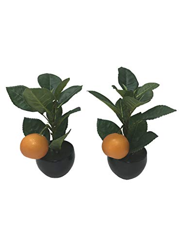 2 Pack Decorative Artificial Orange Tree Fake Fruit Bonsai Indoor Home Decor Simulation Potted Plants