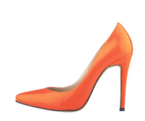 Women's Elegant Pointed Toe Shallow Mouth Stiletto High Heel Pumps Shoes Orange Patent PU YAOfxIXr