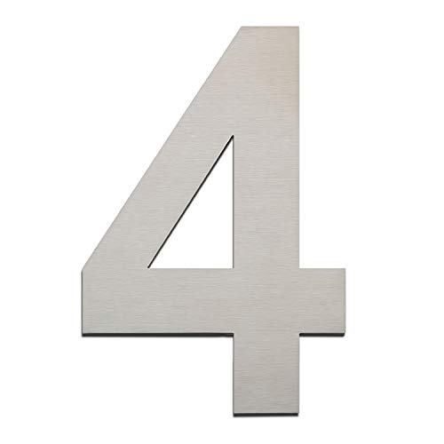 Brushed House Number 4 Four-15.3cm 6in-Made of Solid 304 Stainless Steel,Easy to Install,Floating Appearance (Stainless Steel House Number)