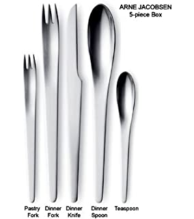 Georg Jensen Arne Jacobsen 5 Piece Flatware Set, Matte Finish