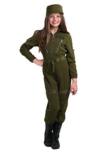 Fun Costumes Girl's Army Flightsuit Jumpsuit Costume Large