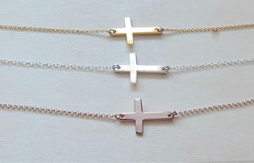- Sideways Cross Necklace • Medium Cross Necklace, Sterling Silver, 24K Gold or Rose Gold Vermeil • Religious Jewelry,Protection Necklace Gift