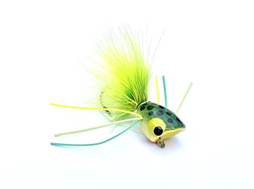 Bass Popper Frog Fly by Henry Fly Fishing (6 Flies) - Frog Henry