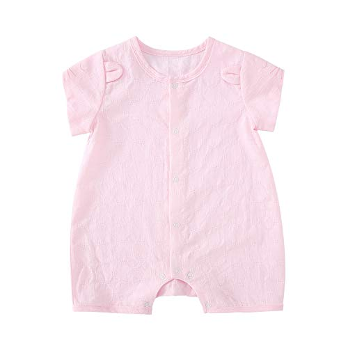 pureborn Baby Girl Snap-up Short Sleeve Cotton Jacquard Romper Pink Lion 9-12 Months