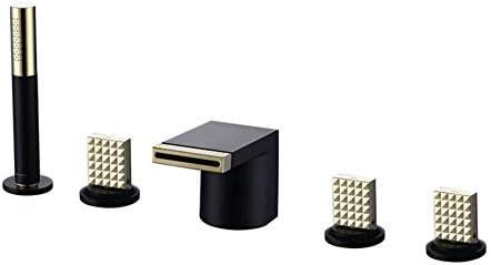 ハンドシャワーシャワーホースホットおよびコールドバスタブ水栓付き浴槽蛇口真鍮-黒